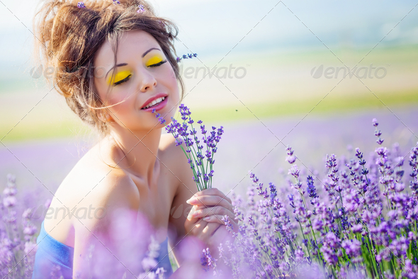 Girl on lavender field - Stock Photo - Images