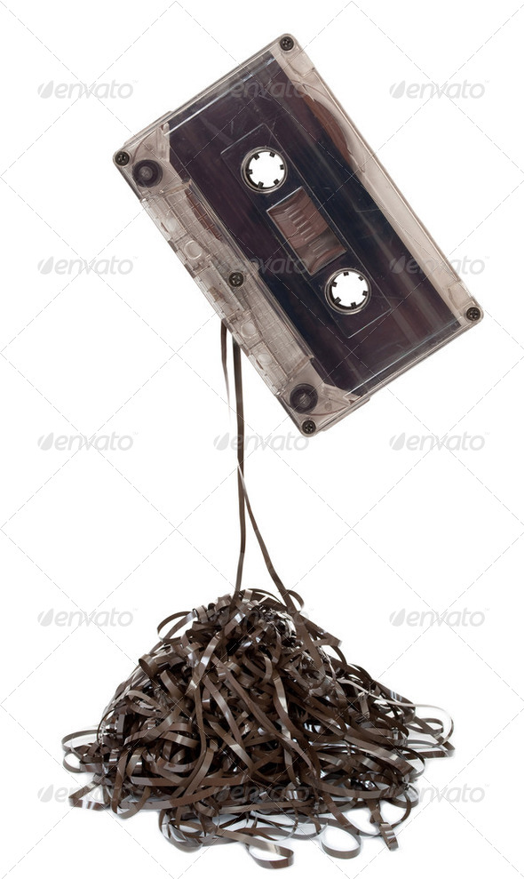 Audio tape cassette with subtracted out tape - Stock Photo - Images