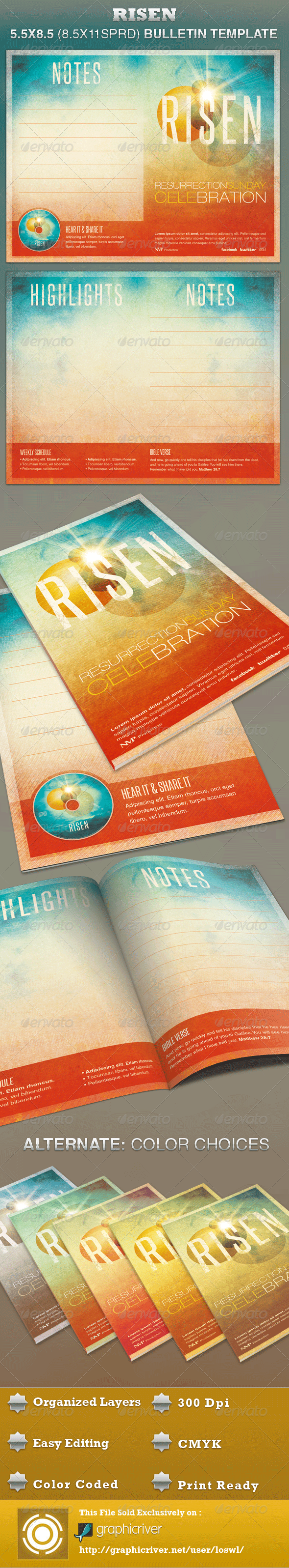 GraphicRiver Risen Church Bulletin Template 3239147