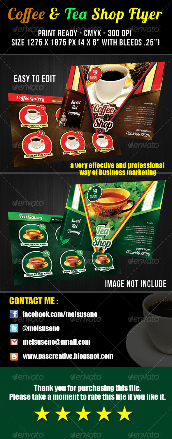 Coffee & Tea Shop Flyer Template - Restaurant Flyers