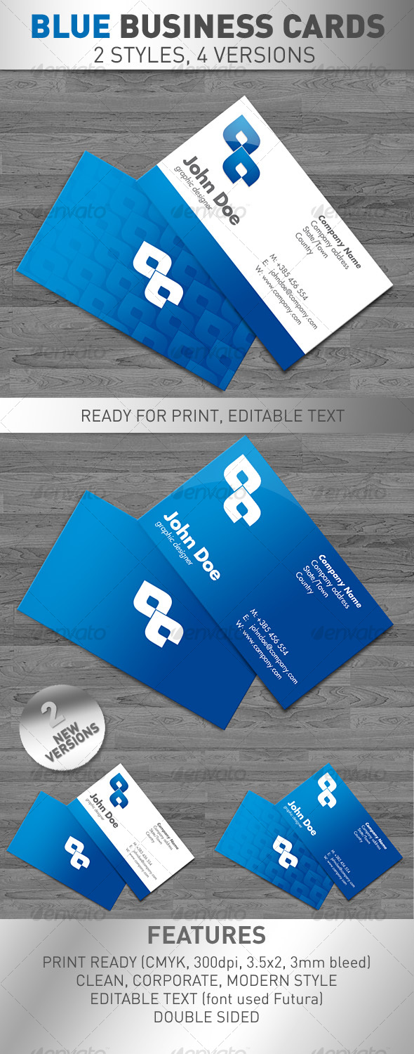 Blue Business Cards 4 VERSIONS - Corporate Business Cards