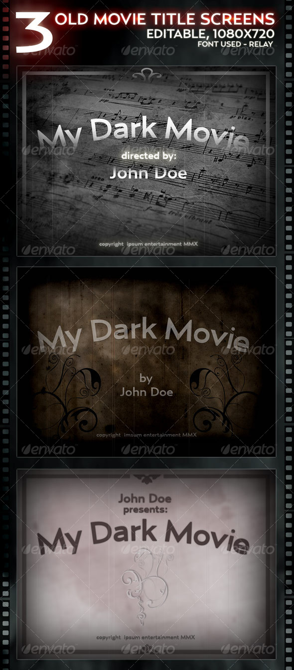 GraphicRiver 3 Old Movie Title screens Layered 112970