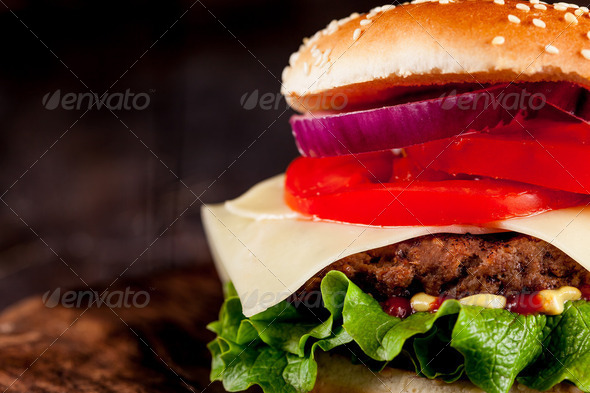 Hamburger with fries - Stock Photo - Images