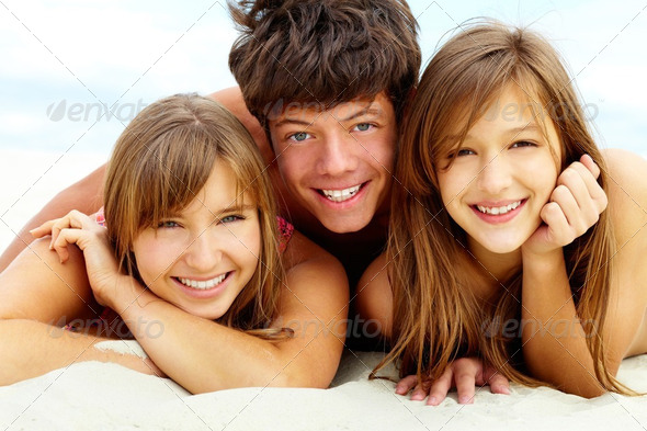 Tanning friends - Stock Photo - Images