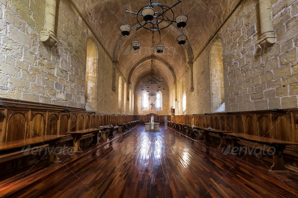 Monastery of Santa Maria de Poblet dining room - Stock Photo - Images