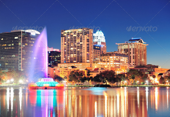 Orlando at night - Stock Photo - Images