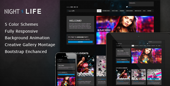 Night Life Bootstrap Responsive Dark Template