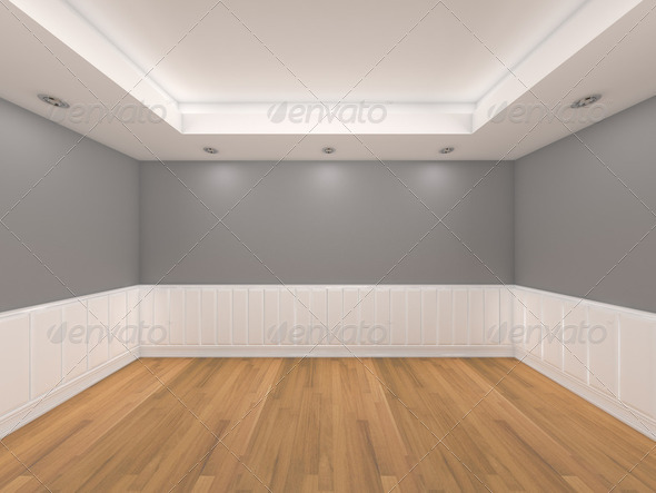 Empty room gray wall interior room with decorate wood wall and wood floor stock photo by sumetho - Wooden flooring room interior ...