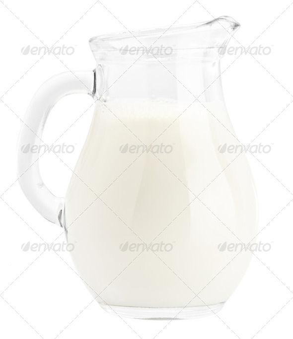 Milk in pitcher isolated - Stock Photo - Images