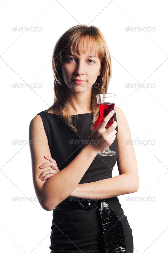 Young Woman With A Red Wine - Stock Photo - Images