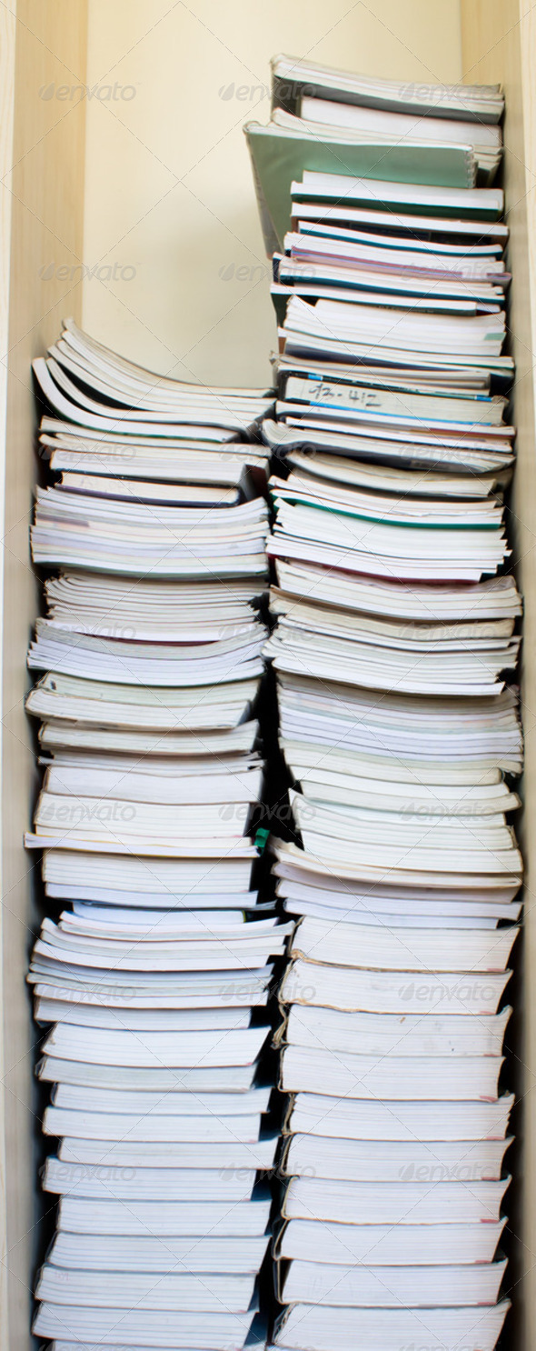 High stack of used books - Stock Photo - Images