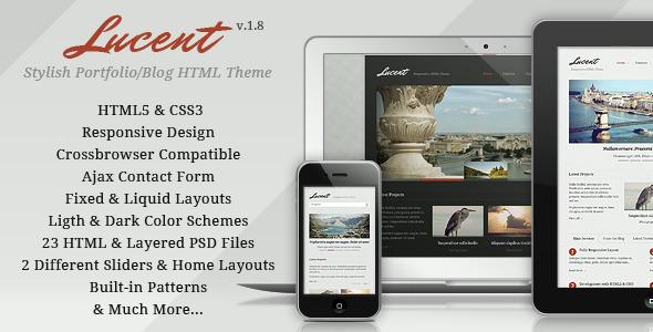 ThemeForest Lucent Stylish Portfolio Blog Responsive Theme 2590469