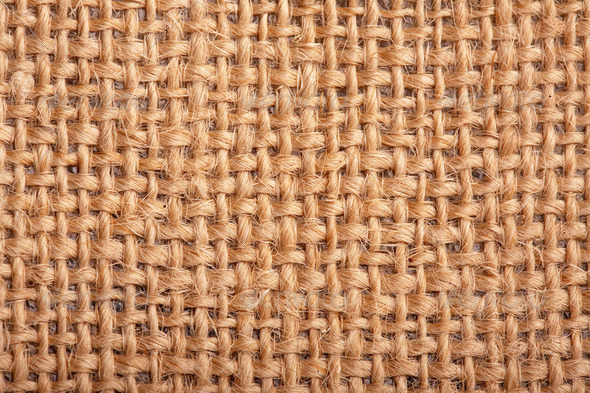 Close-up of natural burlap hessian sacking. Background texture u - Stock Photo - Images