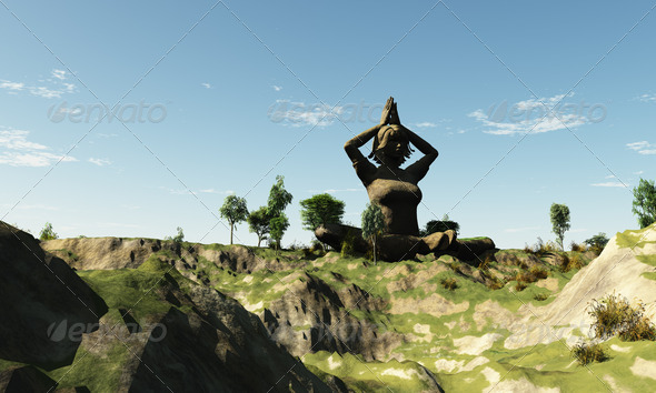 Yoga Green Land - Stock Photo - Images