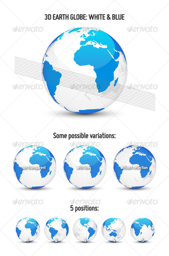 GraphicRiver 3D Earth Globe White & Blue 114485