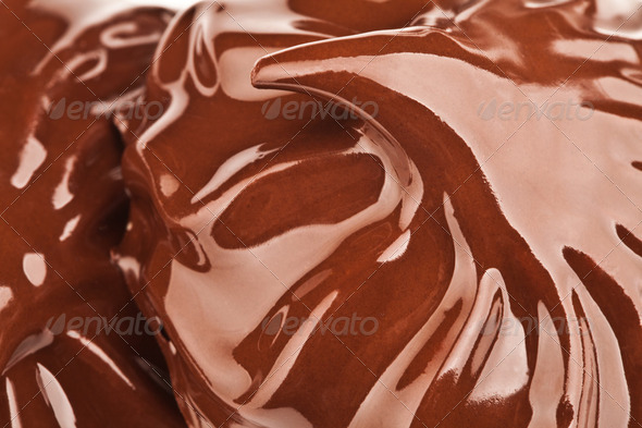 Melted chocolate with ripples and waves - Stock Photo - Images