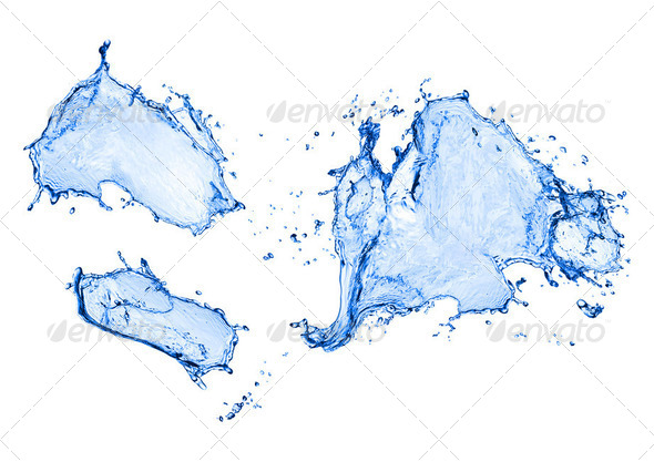 blue water splash isolated on white background - Stock Photo - Images