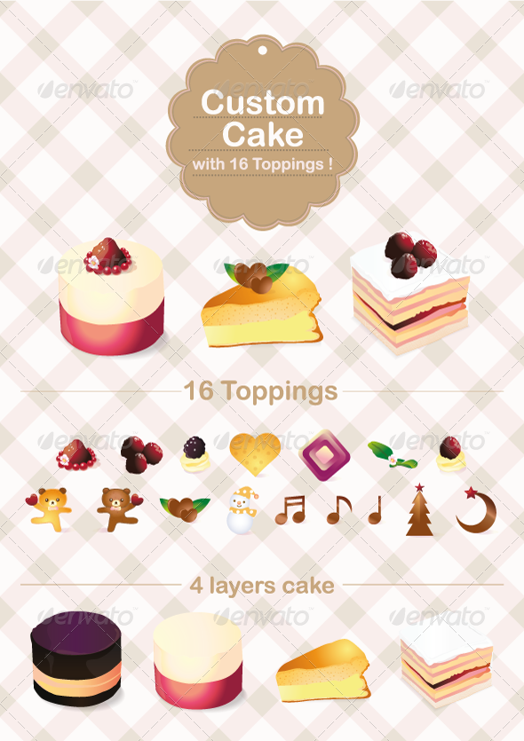 GraphicRiver Custom Cake with 16 Topping 336854