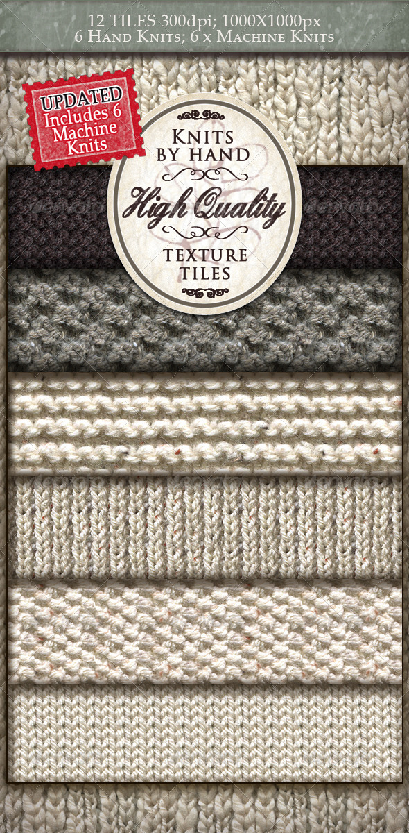 Wool Knit Textures; Knitted by Hand - Fabric Textures