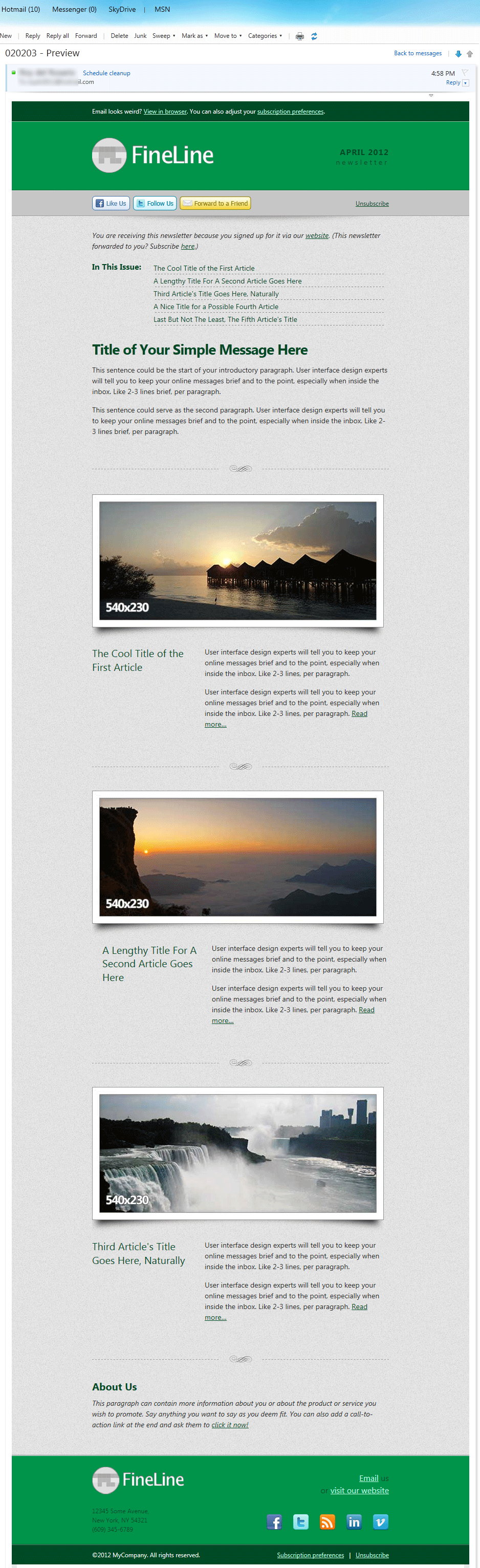 FineLine - Email Template - 30 Layouts 8 Colors - Screenshot in Hotmail, as viewed using Internet Explorer 9, in Windows 7.