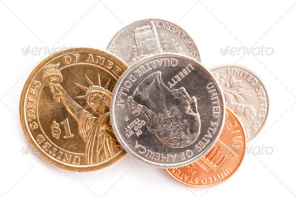 american coins on white background - Stock Photo - Images
