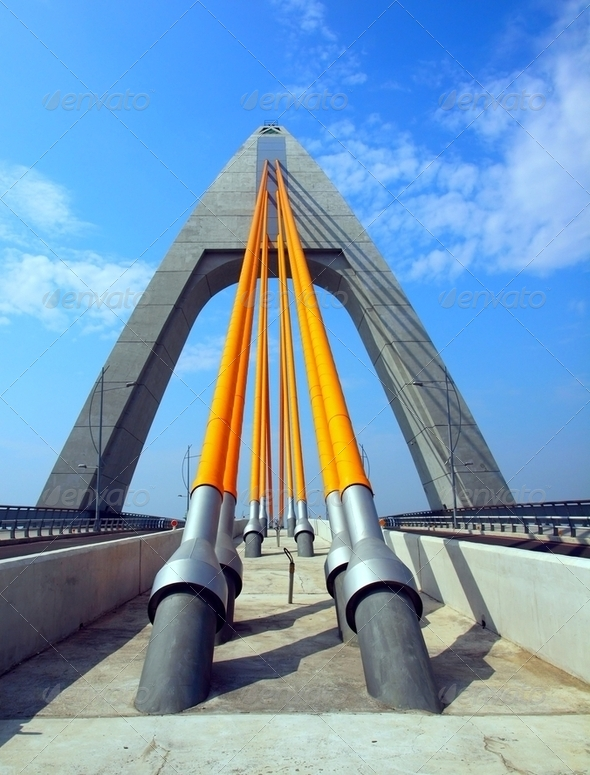Modern Cable-Stayed Bridge - Stock Photo - Images