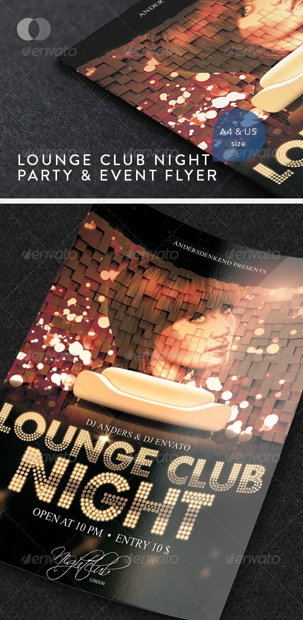 Music & Event Flyer - Lounge Club Night - Clubs & Parties Events