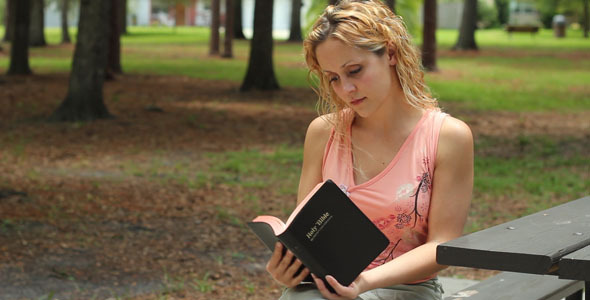 Woman Reads Bible Outside VideoHive Stock Footage  Religious 337163