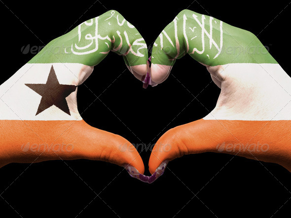 Heart and love gesture by hands colored in somaliland flag for t - Stock Photo - Images