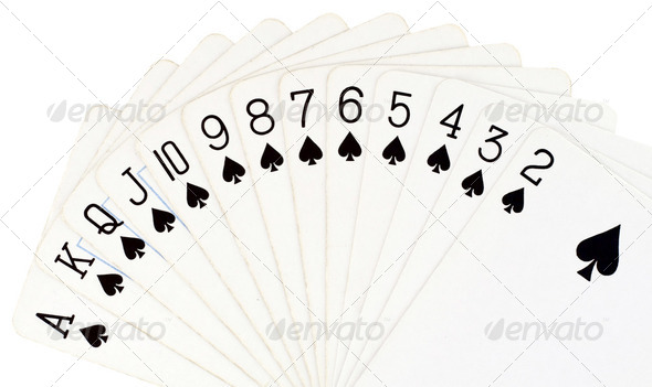 Playing cards isolated on white background - Stock Photo - Images