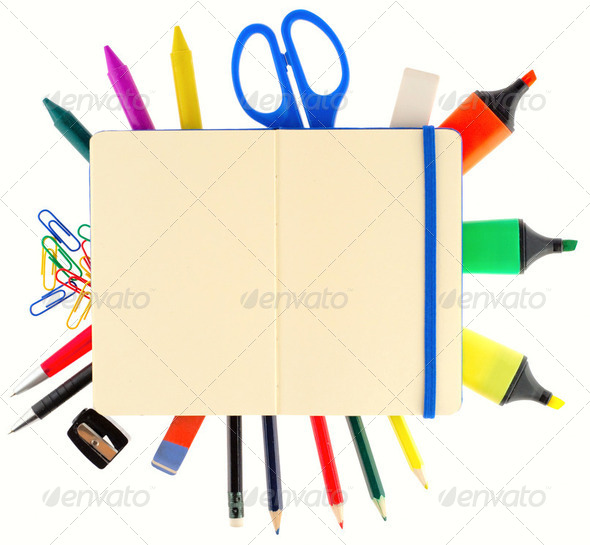 Notepad with stationary objects on white background - Stock Photo - Images