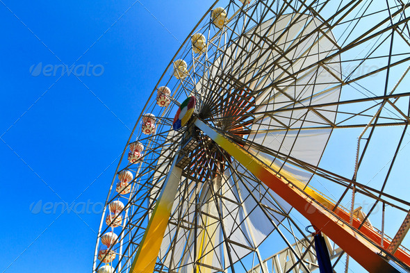 Ferris wheel and blue sky - Stock Photo - Images