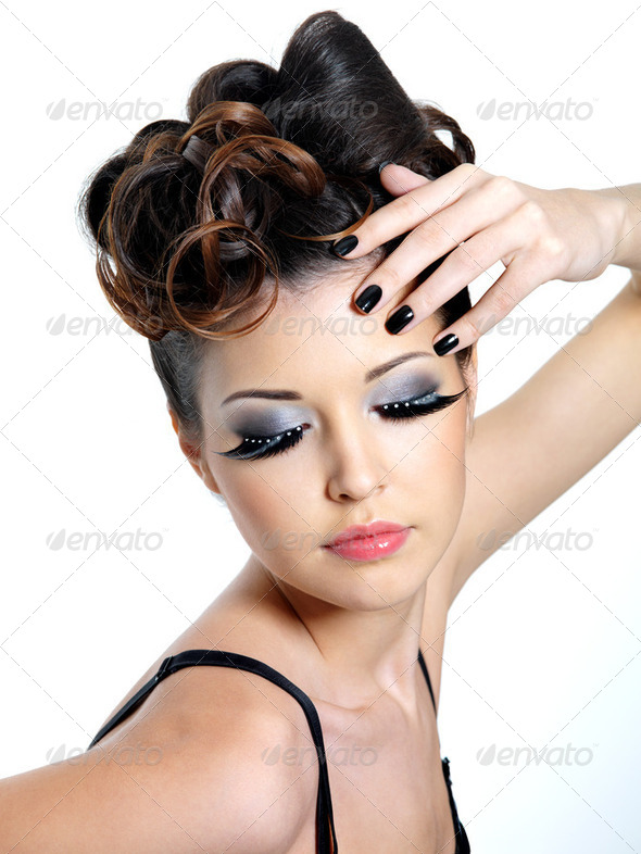 Glamour woman with  fashion eye make-up - Stock Photo - Images