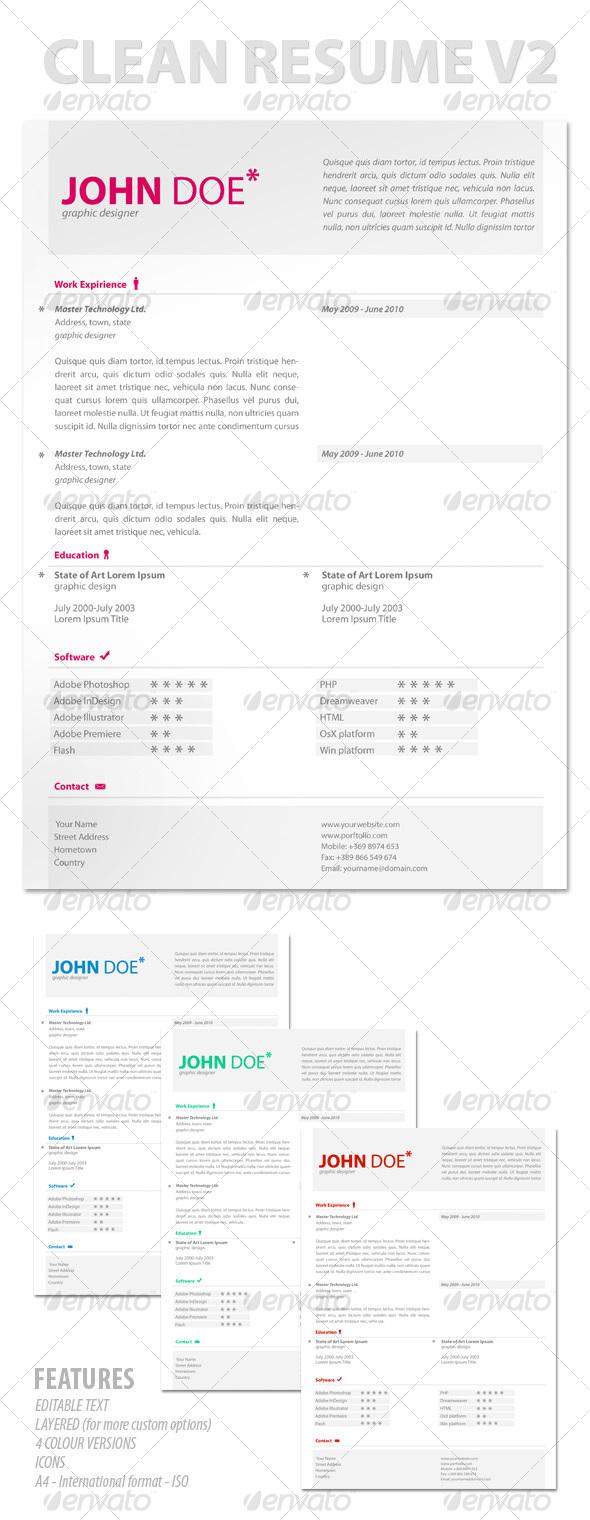 GraphicRiver Modern & Clean Resume V2 113189