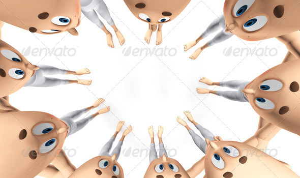 Team spirit, business debate. 3d little humans - Stock Photo - Images