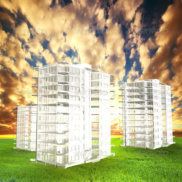 New blocks of flats project on field at sunset - Stock Photo - Images