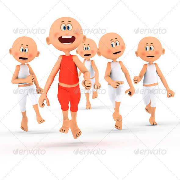 Toon guys running, competition concepts - Stock Photo - Images