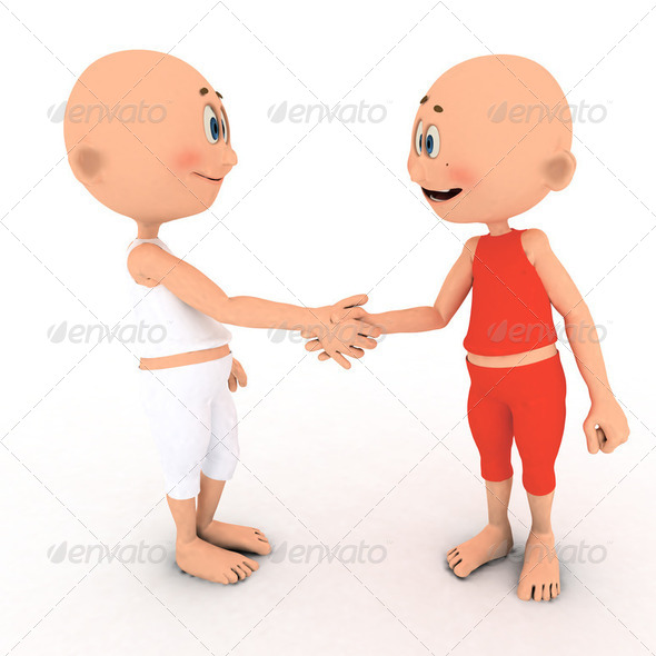 Little toons handshake - Stock Photo - Images