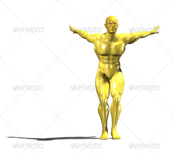 Gold hero man statue ready to jump - Stock Photo - Images