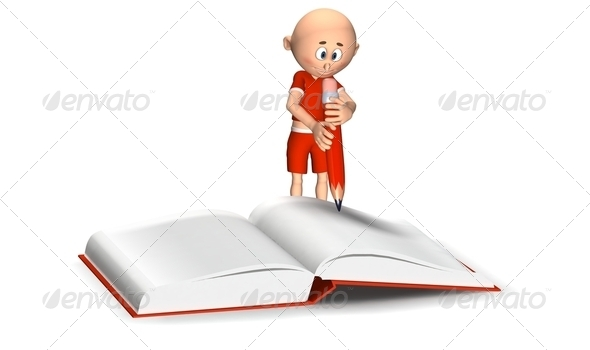 Toon guy writing in a notebook - Stock Photo - Images