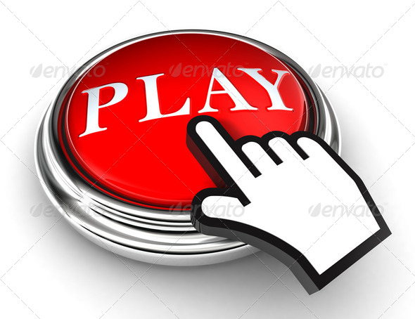 play red button and pointer hand - Stock Photo - Images