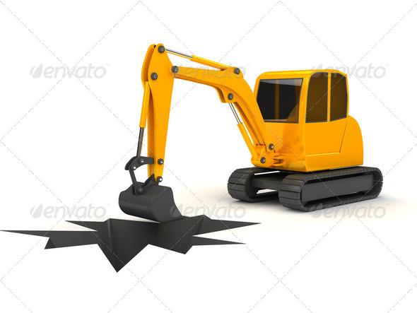 3d orange digger working on white background - Stock Photo - Images