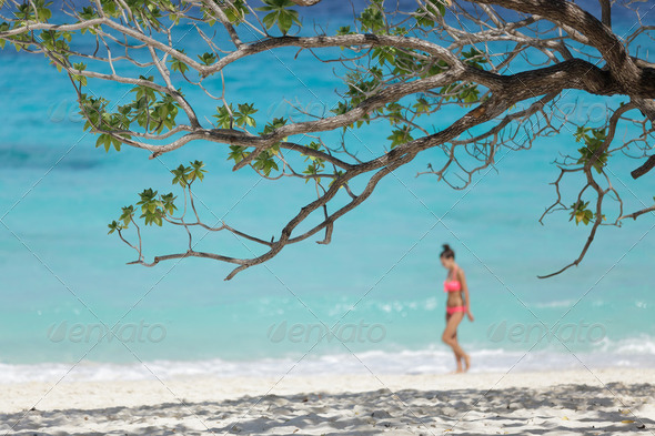 girl on tropical beach - Stock Photo - Images