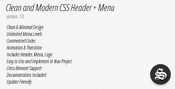 Clean & Modern CSS Header + Menu - WorldWideScripts.net oggetto in vendita