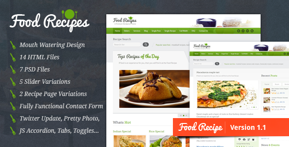 ThemeForest Food Recipes Food Website and Blog Template 1575003