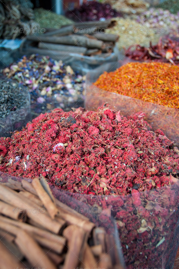 Spices at the spice souk (market) of Deira, Dubai, UAE - Stock Photo - Images