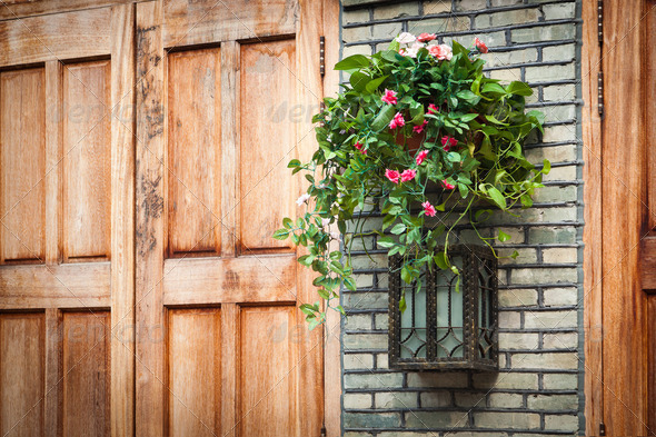 House decoration - Hanging houseplant basket and old style lamp - Stock Photo - Images