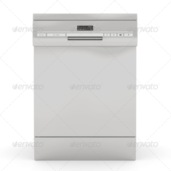 Silver dishwasher - Stock Photo - Images
