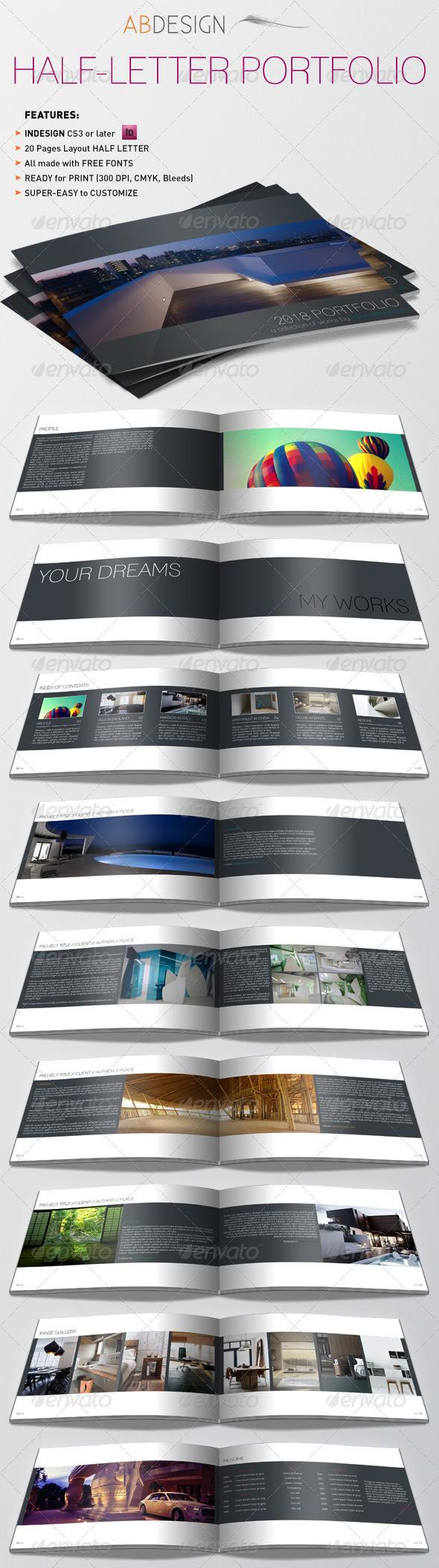 GraphicRiver Half-Letter Portfolio & Resume Template 3259740