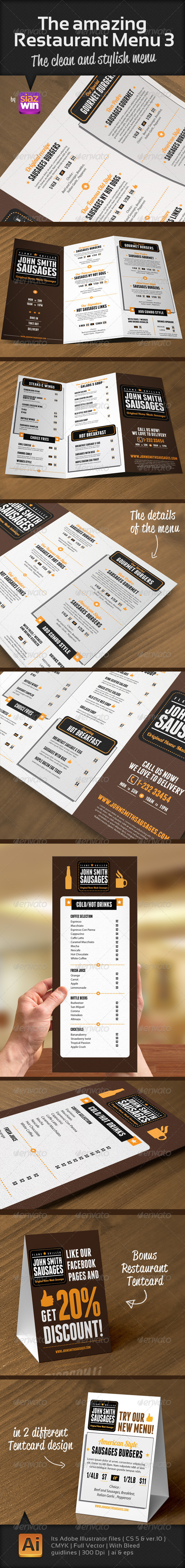 The Amazing Restaurant Menu 3 - Food Menus Print Templates